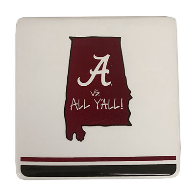 ALABAMA VERSUS ALL Y'ALL STATE COASTERS (SET OF 4)