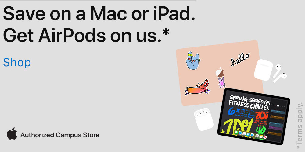 Buy an eligible Mac or iPad and Airpods are on us *select models only, exclusions do apply.