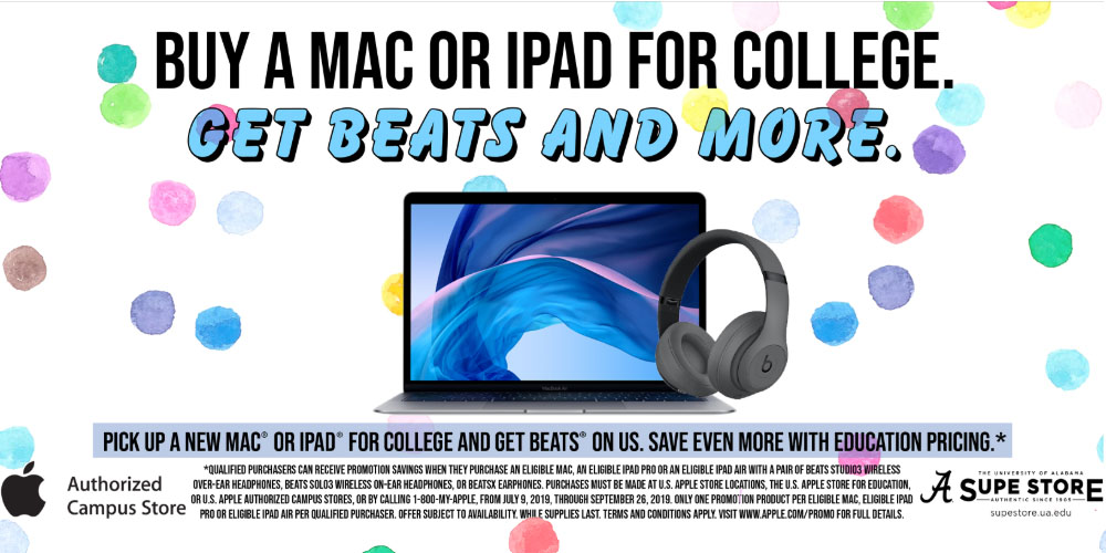Now through September 26th, 2019 free Beats with Select MacBook, iMac purchase, or iPad purchase.